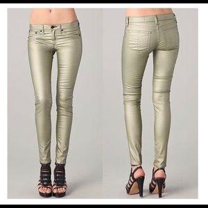 Rag & Bone Champagne/Metallic Legging Jeans